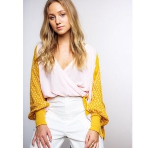 Free People Yellow Thermal Auxton Top